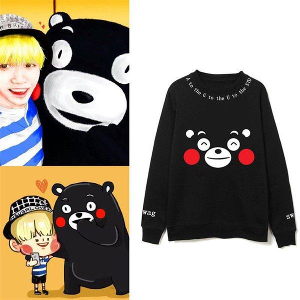 Kpop BTS Suga Kumamon пуловер Bangtan мальчики черные толстовки толстовка с капюшоном черные рубашки унисекс пуловер толстовка новый