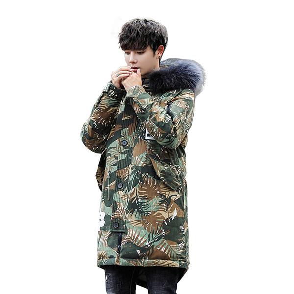 2018 famous brand hood men's jackets oversized 3XL russian fur coats for men warm long style duck down jacket men hood hot sale