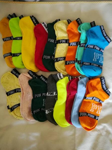 best selling Pink Brand Sports Socks 100% Cotton women & Girtls Sock Quickly Dry Ankle Socks Breathable Summer Short Socks Free Size37-44 EUR