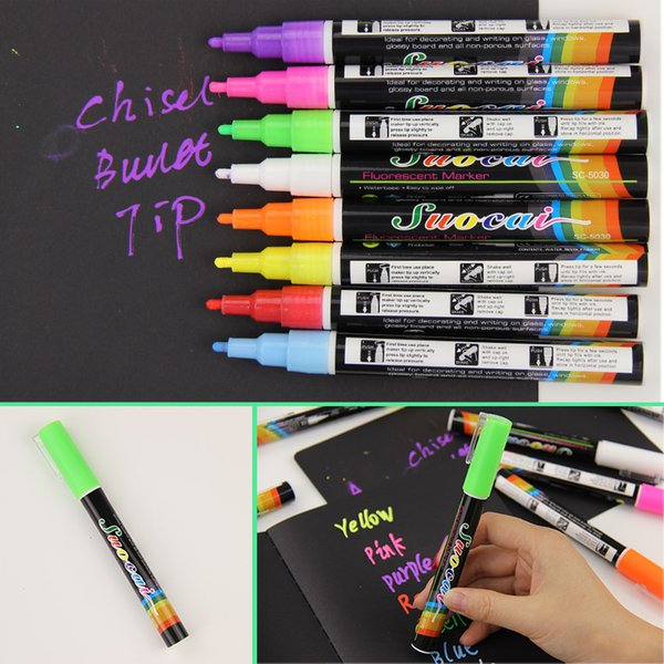 2019 Liquid Chalk Marker Pens Erasable Multi Colored Highlighters Led Writing Board Glass Window Art 8 Colours Marker Pens From Households 10 06