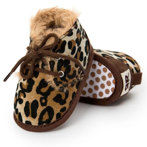 Stivali invernali per bambini Neonato Neonati Bambini Primi camminatori Calde Ragazze Ragazzi Suola morbida Antiscivolo Prewalker Baby Shoes Leopard