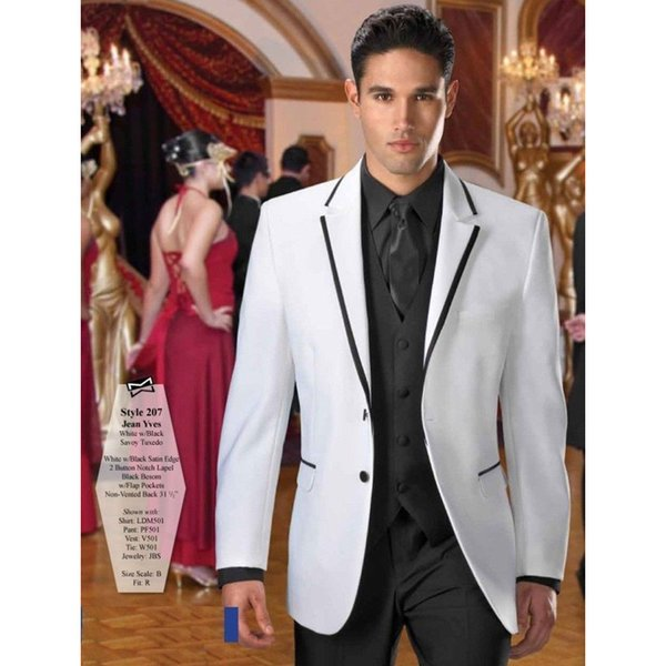 Custom white men's suit dress three-piece suit (jacket + pants + vest) men's business office formal suit wedding groom groomsmen dress