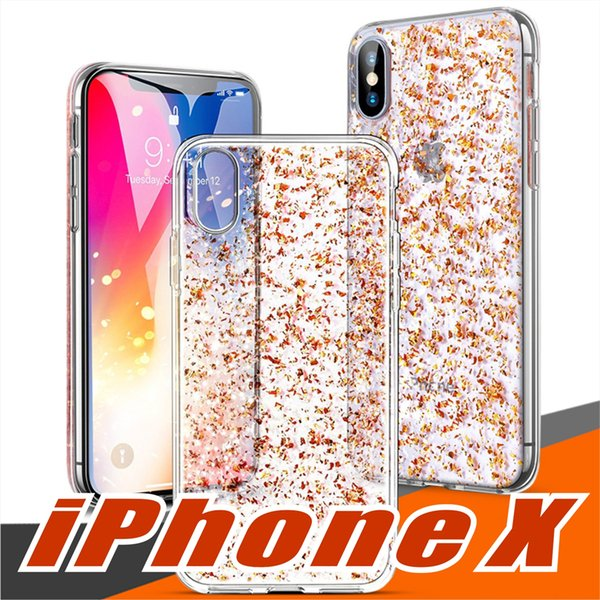 For iPhone X Clear Case with 3D Gold Sparkle Glitter on Hard PC Back Soft TPU Cases with Bling Shining Design for Girls Women Apple iPhone 8