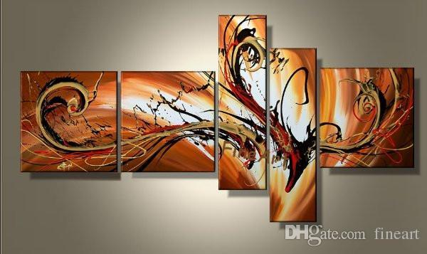 Bonne qualité 5 panneau peint à la main mur de pétrole art meilleur fine art peinture à l'huile toile décoration de la maison peinture à l'huile cadeau unique Kungfu Art