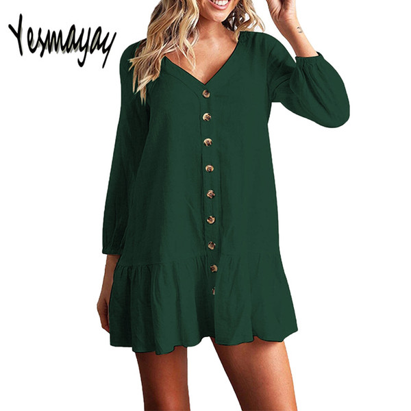 Women Autumn Dresses V Neck Cotton Linen Dress Femme 2018 Mini Casual Ruffle Long Sleeve T Shirt Dress Women Linen