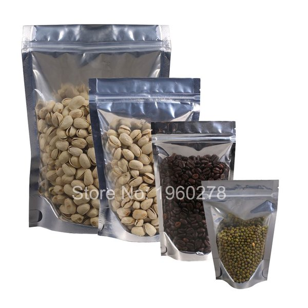 Various Sizes 100pcs Translucent Clear/Silver Self Seal Metallic Foil Zip Lock Pouches Stand Up Storage Bag Package