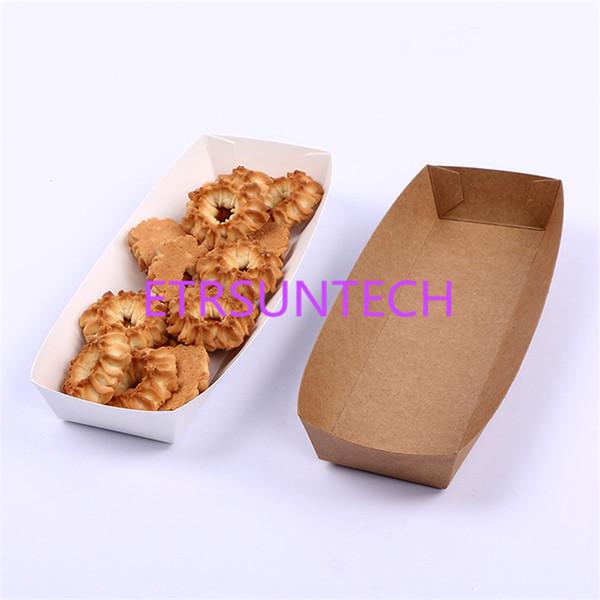 20 * 6 * 3 cm Tek Kullanımlık Beyaz Kraft Tekne Kutusu Için Çip Gıda Tepsi Yağlı Kağıt Kutusu Kızarmış Gıda Saklama Kutusu LX0417