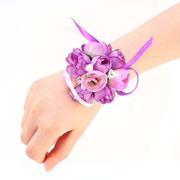 Creative artificial Wrist Flower Bridesmaid Sisters hand flowers Artificial Bride Flowers Wedding Decoration Flower