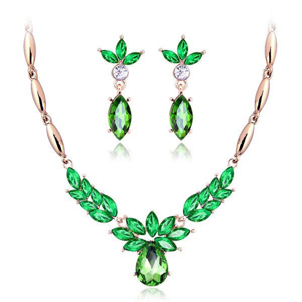 2018 elegante sposa matrimonio collana pendente di cristallo orecchini set di gioielli costume per le donne gioielli moda oro-colore all'ingrosso