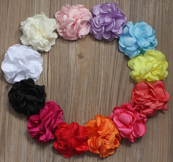 40pcs 8cm Multilayer Satin Fabric Burned Edges Flower for Girls Hair Accessories,Headband Clothing Hair Clip Flower Supplies