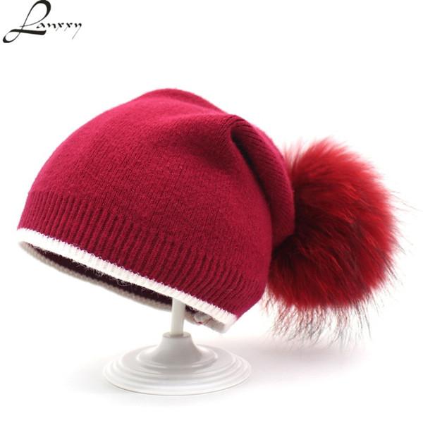 Lanxxy 2018 Neue Frauen Winter Hüte Echtpelz Big Pompom Hut Wollmützen Skullies Beanies Gorro Weibliche Strickmütze