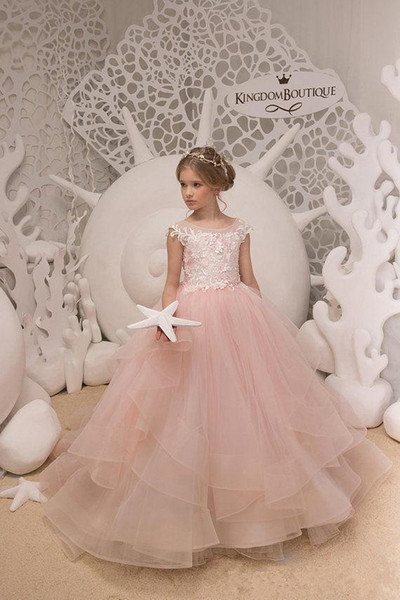 2019 White Jewel Neckline Beautiful Girls Dress For Wedding Beaded Flower Girl Dresses Floor Length Lovely Princess Girls Pageant Party Gown