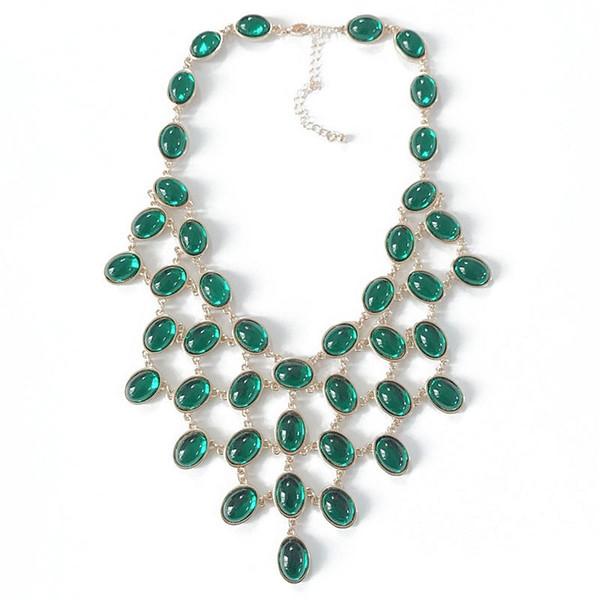 Kostenloser Versand New Fashion Statement Green Opal White Pearl Kragen Anhänger Süße Halskette