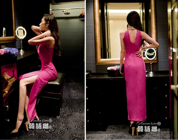 2019 Summer New Sexy Ladies Wear Hollow Halter Splitting Sleeveless Hip Long Skirts Dresses for Evening Party Nightclub A0030