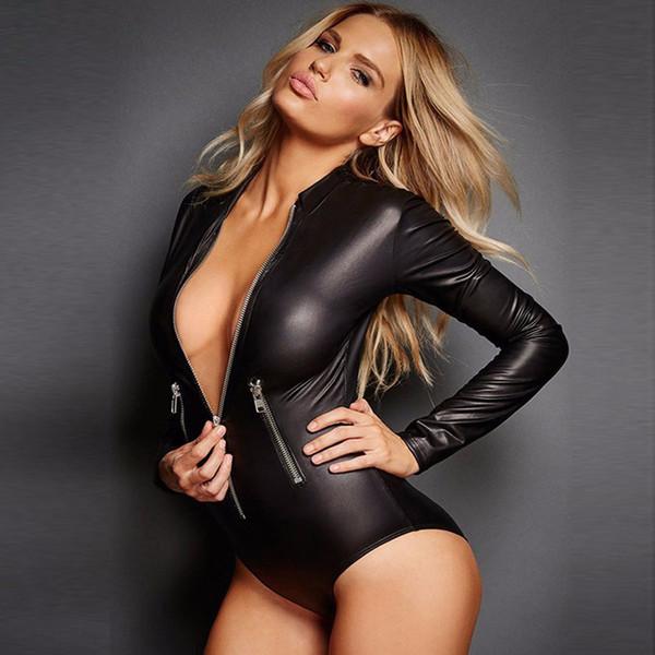 Damen Catsuit Kunstleder Wetlook Bodysuit Overall Body Reißverschluss Kostüm