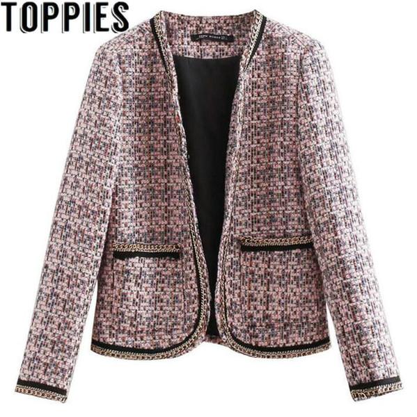 more photos a1c16 9a4f9 Großhandel 2018 Herbst Winter Elegante Tweed Blazer Mantel Kette Dekor  Retro Vintage Wollmantel Büro Dame Blazers Von Malltwo, $39.79 Auf ...