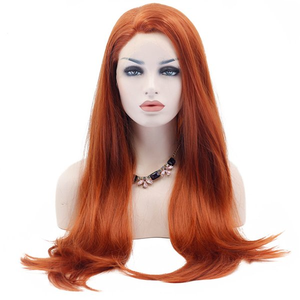 Natural Synthetic Lace Front Wigs Long Natural Straight Orange Synthetic Lace Wigs Heat Resistant Fiber Natural Hairline Soft Hair For Women