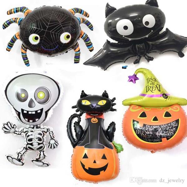 2018 Halloween Balloons Pumpkin head Balloons Halloween Decoration Spider Foil Balloons Inflatable Toys Bat Globes Party Supplies