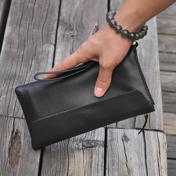 New men's leather black long wallet leather zipper wallet clutch bag high-end packing cubes travel business card package mens duffle bag