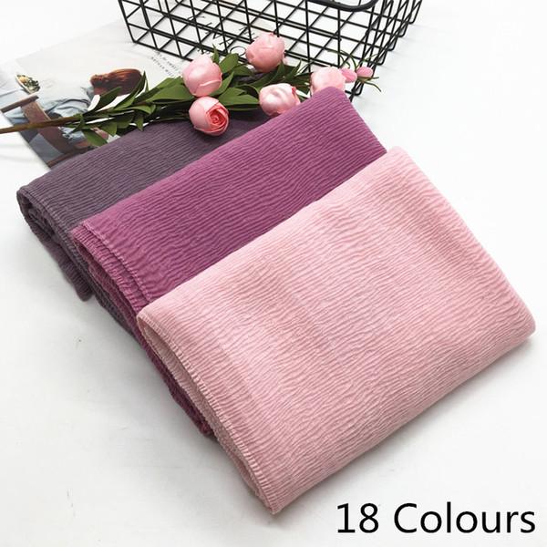New design Super soft fashion women ripple fold solid color shawls viscose cotton Muslim hijab scarves pashmina scarf 10pcs/lot D18102905
