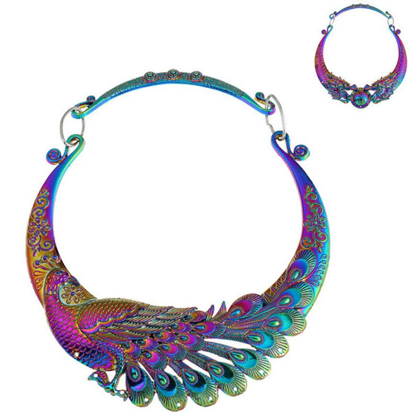 designer jewelry necklace for women colorful peacock shape double dragon beaded hot fashion free of shipping