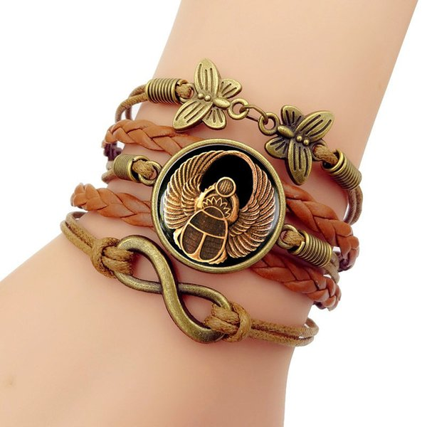 Bangles Leather Bracelet New 2018 Simple Fashion Egyptian Scarab Gem Multilayer Hand-woven Combination Jewelry Vintage Unisex