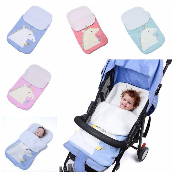 70x40cm Baby Knitted Strollers Unicorn Sleeping Bag Crochet Blankets Cocoon Mattress Sofa Blanket Warm Soft Nursery Sleep Bags 36pcs AAA1256