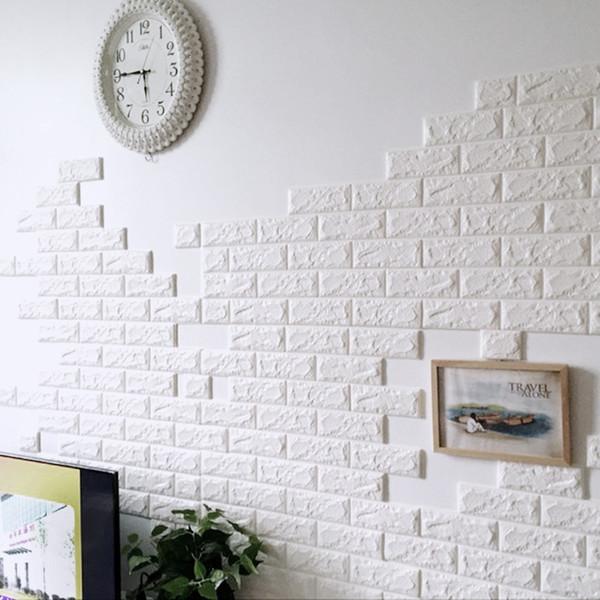 3D Wall Stickers Home Decor Wallpaper DIY Wall Brick Living Room Kids Bedroom Decorative Sticker 10PCS 70*30CM PE Foam