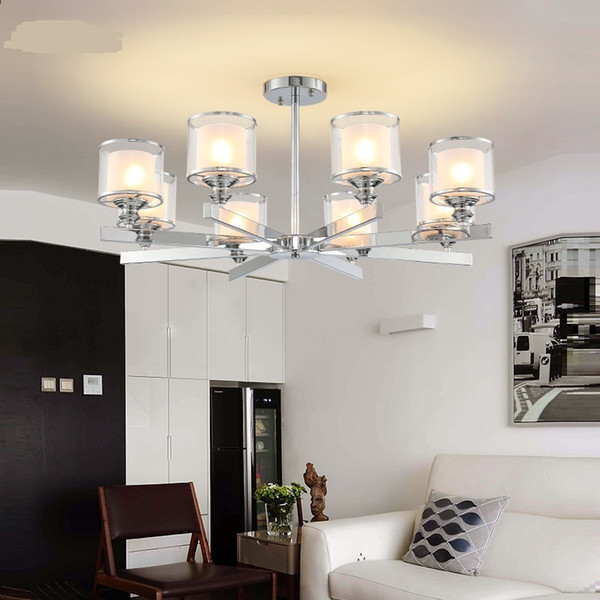 Hot sele new design LED Chrome metal Crystal Chandeliers Lighting Pendant with double glass shades Fixture Lamp For home hotel coffee shop