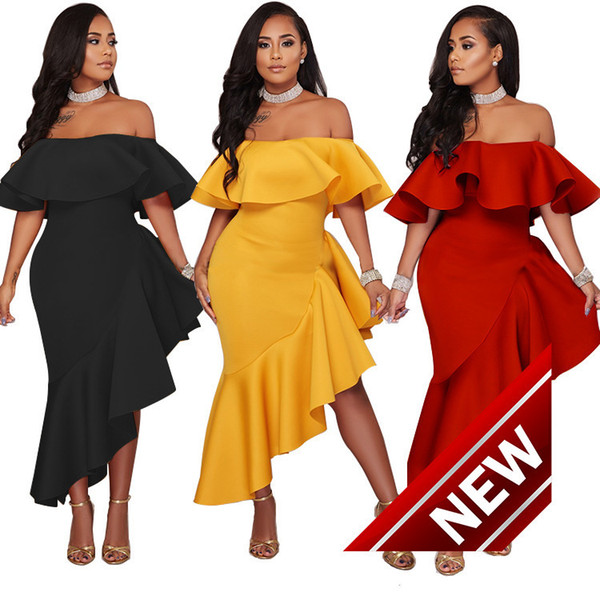 Suit-dress New Pattern One Word Lead Lotus Leaf Edge Ma'am Night club Dress Full SEXY ladies lace DRESSES FOR WOMEN 2 pieces