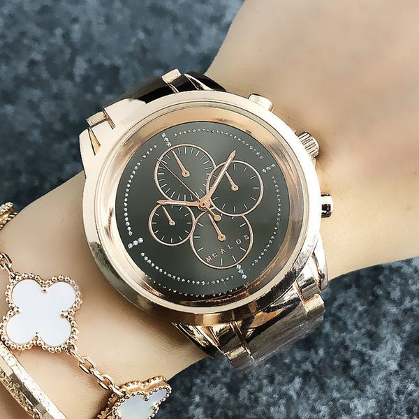 saiun / Fashion Brand women's Girl 4 Dials style Metal steel band Quartz wrist Watch M48
