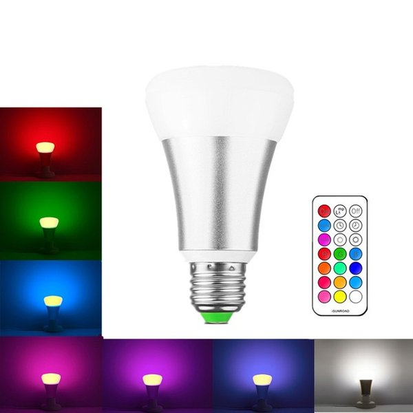 A60 10W E27 Dimmable LED Bulb RGB Bright White LED Lamp 16 Colors Change With Remote Control for Home Decoration Stage Lighting