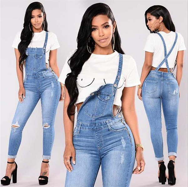 top popular New Woman Overalls Jeans Fashion Cuffs Capris Denim Jeans Ripped Casual sexy bodysuit Free Shopping 2020