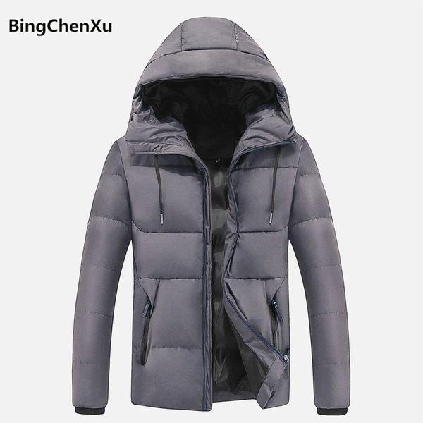 Winter Parka Coat Men Fashion Mens Down Jacket Hooded High Quality Parka Coat Thick Warm Solid Color Men's Jacket Plus Size 1117
