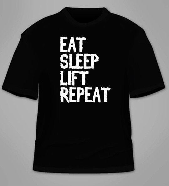 Coma o t-shirt da repetição do elevador do sono Fitness Workout Gym Faculdade Presente Impressionante Besta