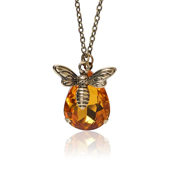 Dainty Petite Simple Bronze Chain Honey Bee Crystal Pendant Necklace Bee Jewelry Bee Keeper women necklace Lover Gifts
