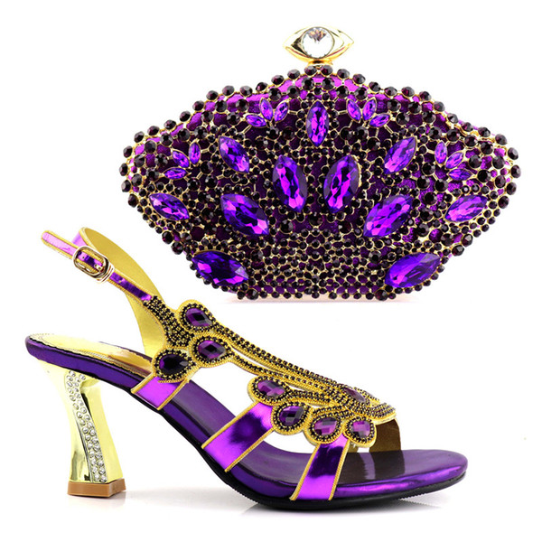 2018 New purple color Fashion Italian Shoes With Matching Bags African High Heel Women Shoes and Bags Set For Prom Party Wedding