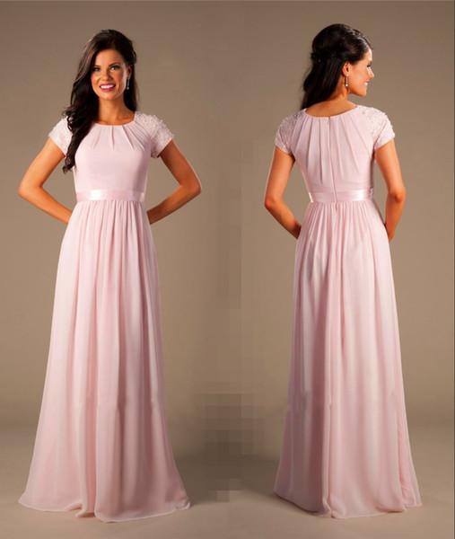 Perlée Rose Longue En Mousseline De Soie Modest Robes De Demoiselle D'honneur Avec Des Mancherons Des Robes De Soirée De Mariage Élégant Soirée A-ligne Plus La Taille Robes De Bal