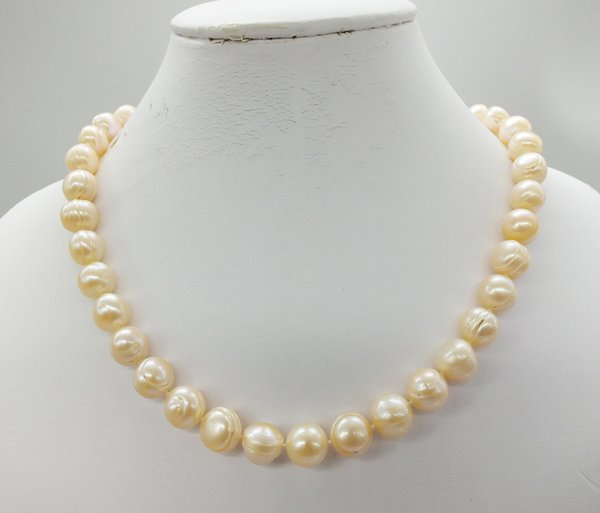 Hot Selling Women Pearl Necklace 11-12MM Pink seawater Pearl Necklaces Womens jewellery Bridal Jewelry Classic Female Wedding Gifts
