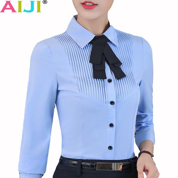 Compre Azul De Las Mujeres Blancas De Manga Larga Elegante Pajarita De Gasa De Vestir Para Señoras Blusa De Oficina Además De Tapas Sólidas Tamaño De