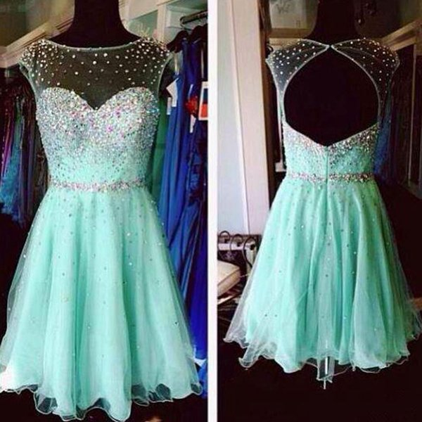 6817abd98a1 Mint Green Homecoming Dresses 2018 New Cheap Junior Prom Dresses Sheer Neck  Cap Sleeves Beaded Crystals Open Back Party Cocktail Dresses