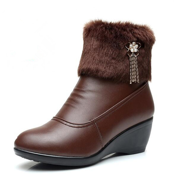 2018 New Fashion Winter Rhinestone Tassel Real Leather Shoes Woman Boots Wedge Ankle Boots Plus Size Warm Snow Boots Women Shoes black brown