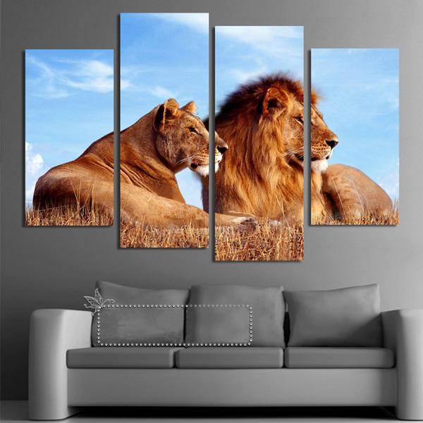 Satın Al Aslan Kral Hayvan 4 Paneller Boyama Tuval Wall Art Resim Ev