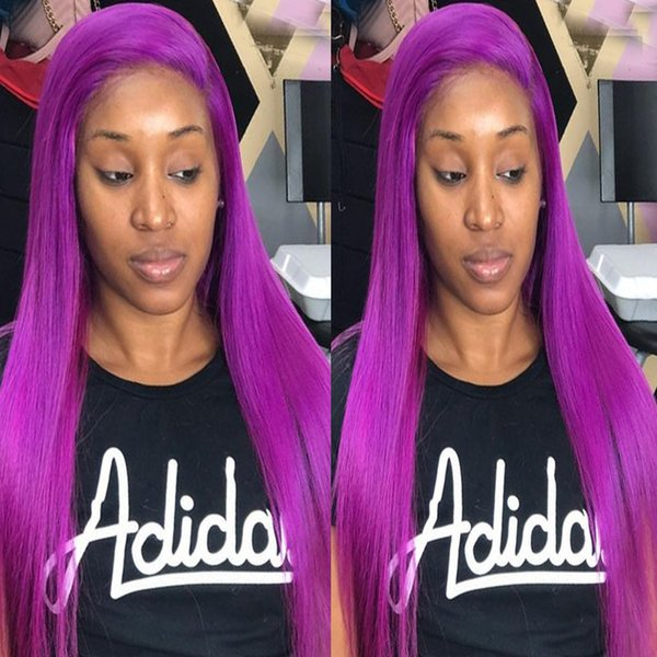 Pre Plucked Glueless Full Lace Wigs For Black Women Purple Straight Lace Front Human Hair Wigs Brazilian Virgin Hair Natural Hairline