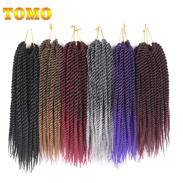 """best selling TOMO 12"""" 14"""" 16"""" 18"""" 20"""" 22"""" 22Roots Pack Kanekalon Senegal Twist Crotchet Braids Hair Extensions Synthetic Ombre Braiding Hair"""