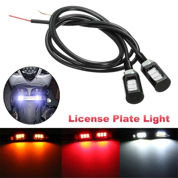 12V 3 5630 LED Motorcycle Car License Plate Screw Bolt Light Auto Reading Front Tail Number Lamp White Red Yellow