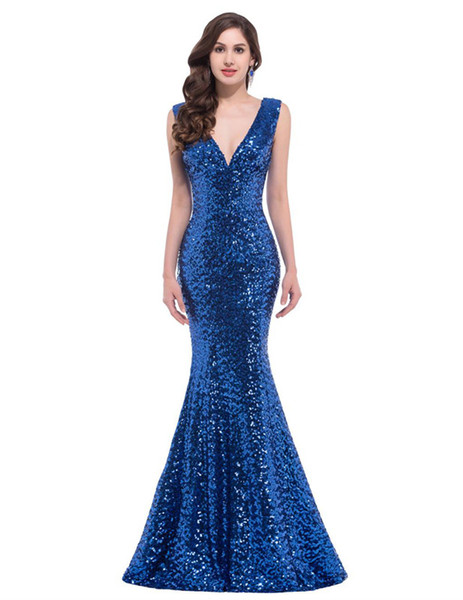 Prom Dresses Sexy Deep V-neck Fishtail Button Slip Ball Dress Treasure Blue Golden Red Sparkling Back straps with shoulder-straps