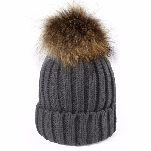 Winter Wool Knitted Real Raccoon Fur Pom Pom Caps For Women Lining Fleece Pompom  Hats Skullies Beanies Bonnet Femme Gorros f67777678e59