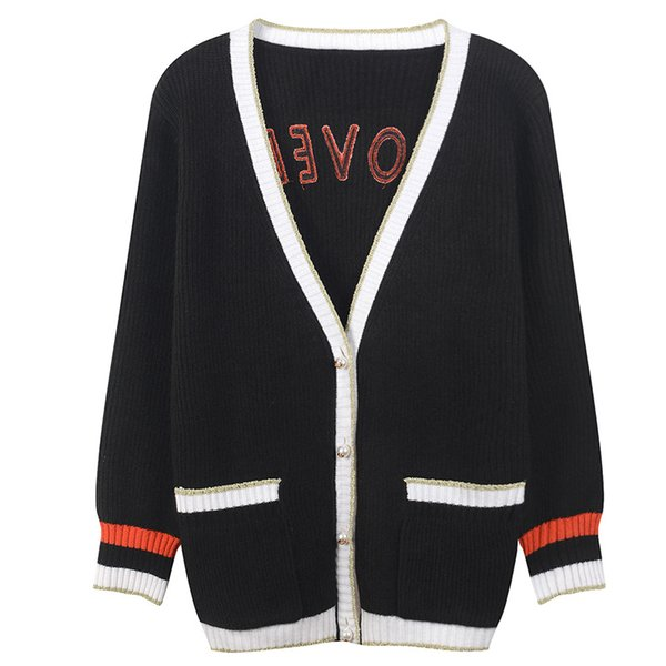 75 2018 Autumn Brand Same Style Sweater Fashion Prom Sweater Cardigan Women Clothes Crew Neck Long Sleeve YL