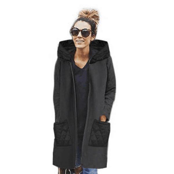 cappotto nero con cappuccio e cerniera